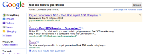 fast seo results guaranteed