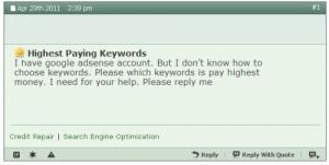 Highest Paying AdSense Keywords