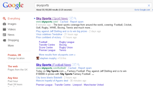 Standard Sitelinks in Google