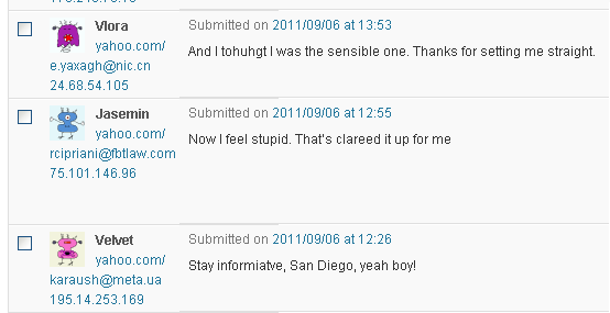 Random Spam Comments